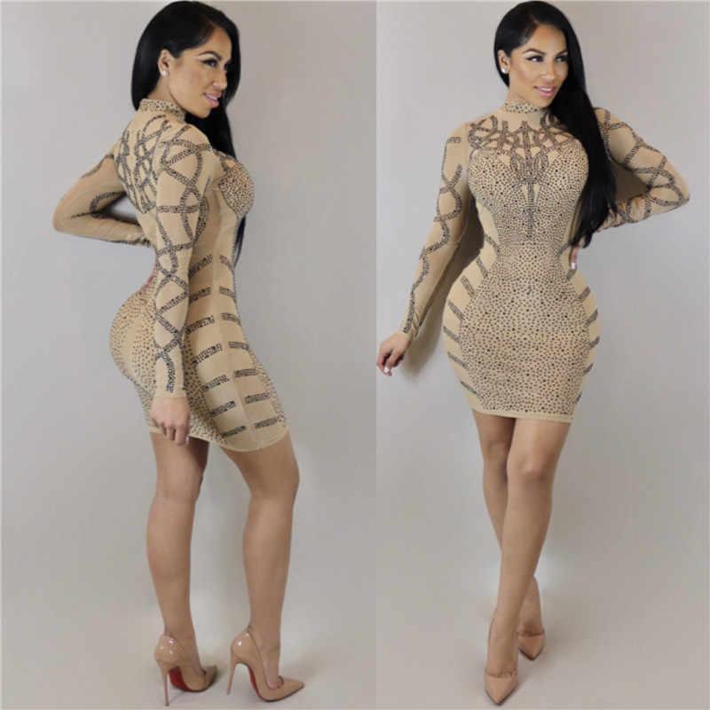 216690c9bff ... PinePear Glitter Diamond Dress 2019 Long Sleeve Bodycon Birthday Dresses  Women Sexy Sequin Crystal Party Club ...