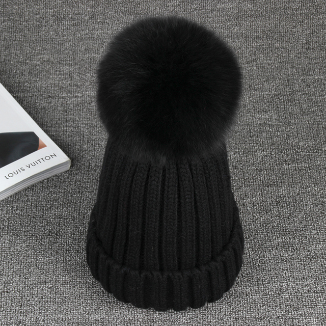 Brand 15Cm Real Fox Fur Pom Poms Winter Hats Thickens For Girls  Warm Casual Knitted Women  Hat Female Skullies Beanies