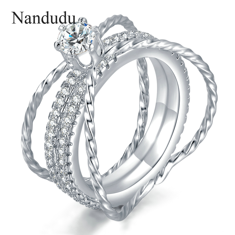 Nandudu Fashion Wedding Ring Special Design Jewelry White Gold Color Cocktail Rings Women Girl Jewelry Accessories Gift R1124