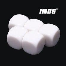 5 unidades/pacote Novo 22mm Branco Em Branco Acrílico Dice Adereços Ensino Jogo Acessórios Ferramentas Matemáticas Canto Arredondado