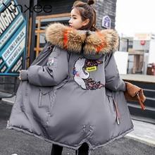 Fashion Embroidery Women Winter Coat Female Big Fur Collar Duck Parkas Jacket Thick Warm Elegant Coat Wadded Jacket цена и фото