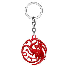Filme MQCHUN Seriers Casa Stark Game of Throne keychain Da Liga a Song Of Ice and Fire Targaryen Dragão Emblemas Chave Chain-50(China)