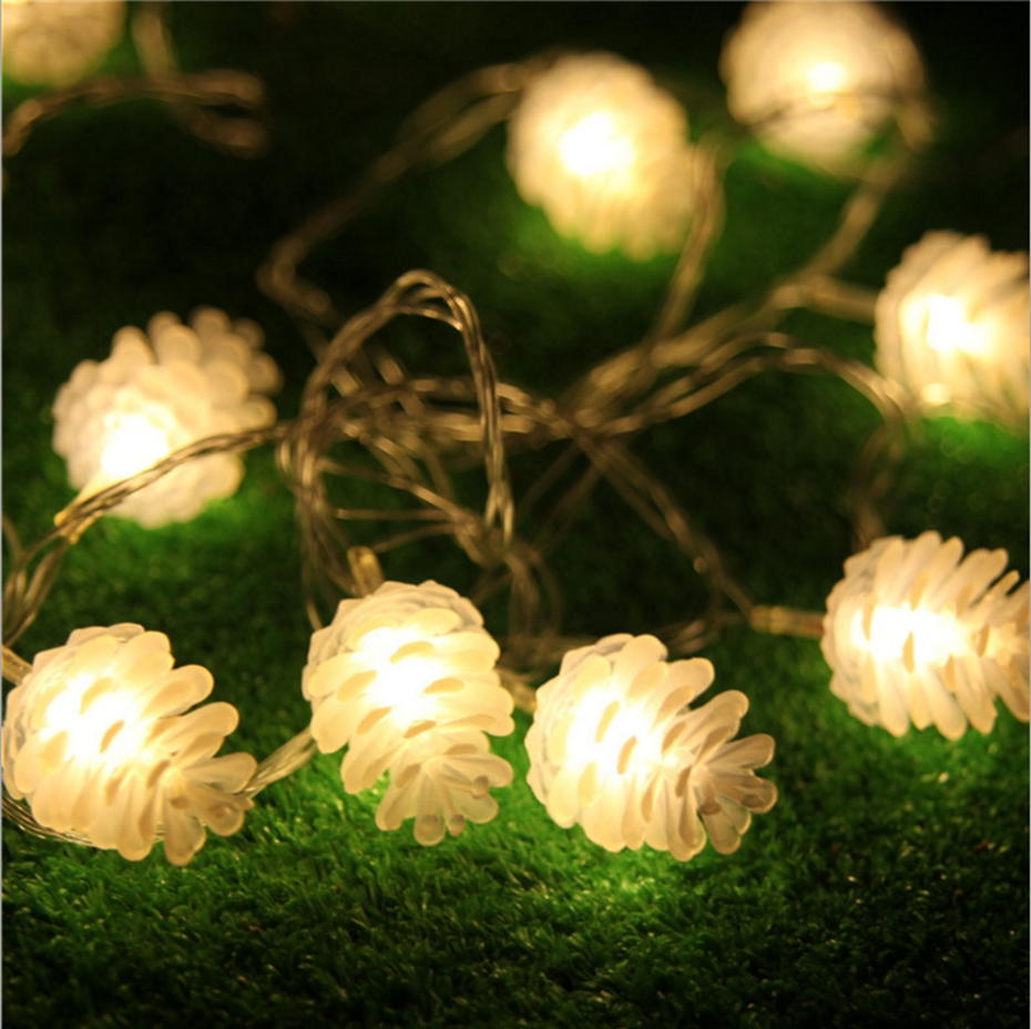 YINGTOUMAN 2pcs/lot Pine Cones Lamp LED String Light Christmas Holiday Wedding Party Decoration Lighting 1.2m 10led