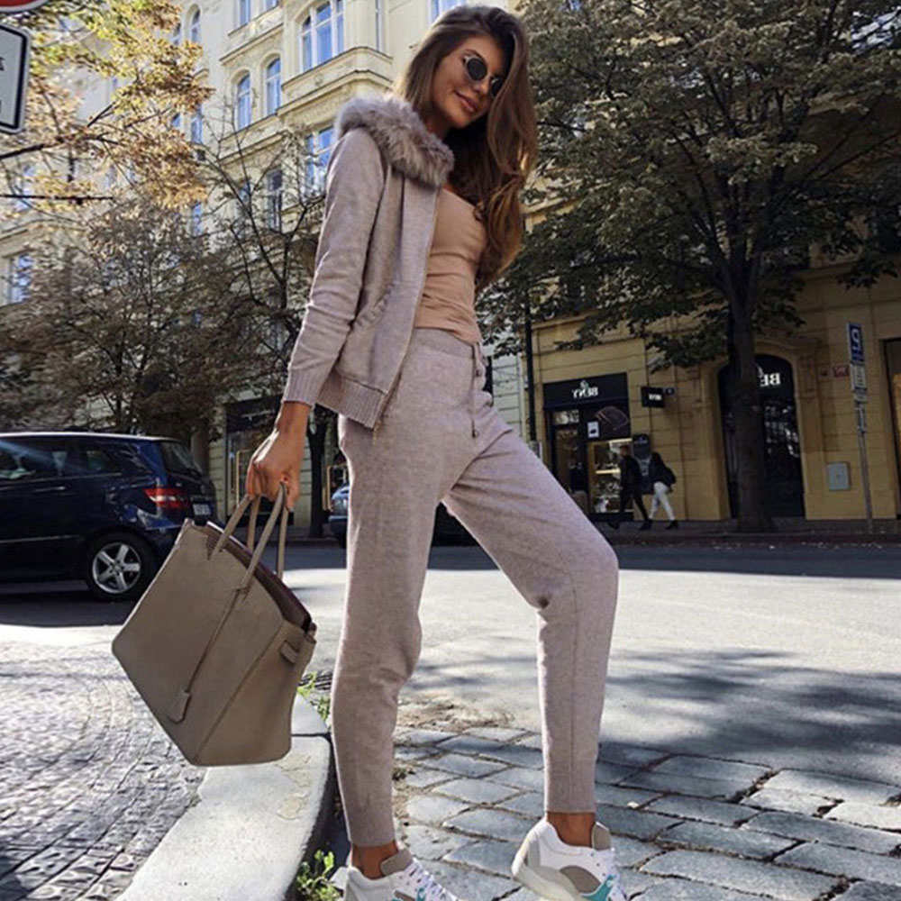 MVGIRLRU Female Knitted suits zipper sweater 2piece outfits fur hooded cardigan tops and pants two piece set