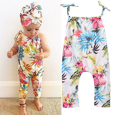Cute Baby Girls Summer Belt Jumpsuit Kids Sleeveless Floral   Romper   Infant Flowers Clothes Outfits