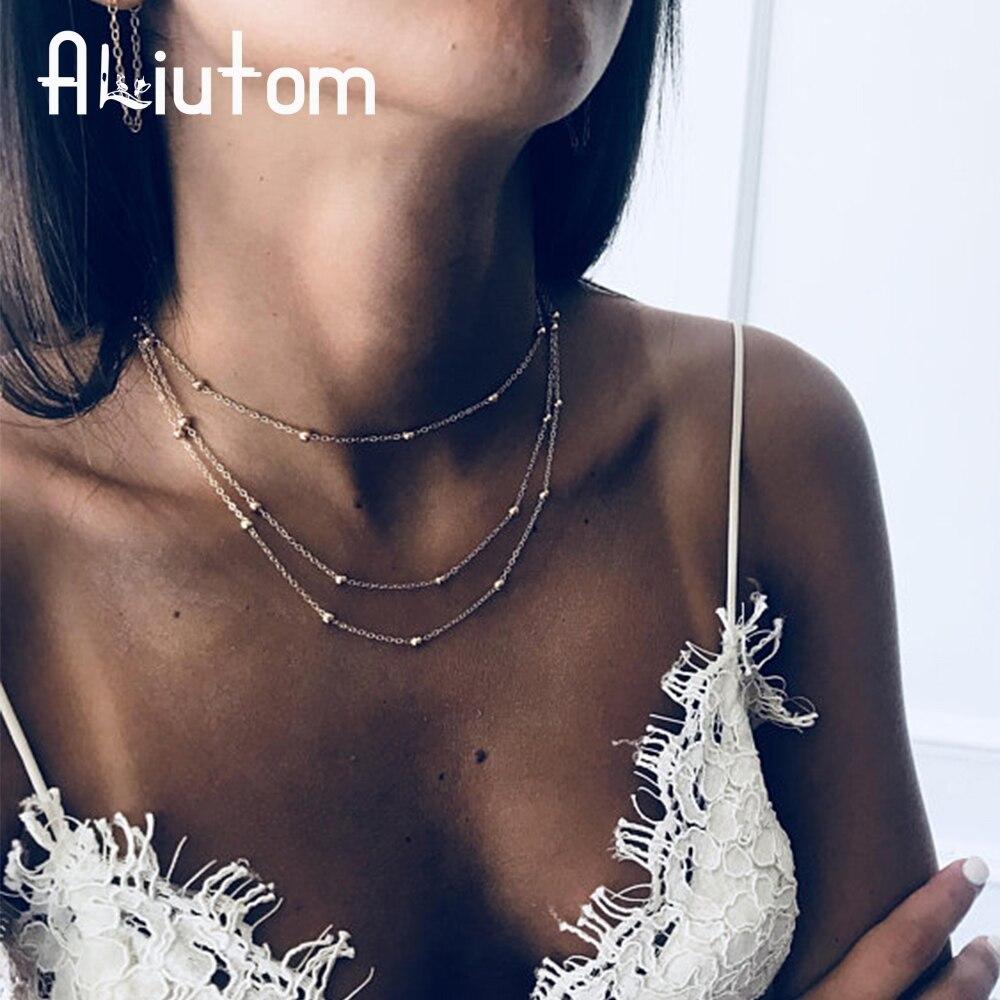 ALIUTOM 2019 Trend Bohemian Gold Multi-layer Bead Chain Necklace Female Retro 3 Layer Simple Beach Girl Collar Necklace Jewelry