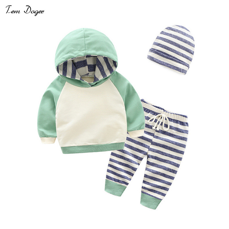 Tem Doger Baby Boys Spring Clothing Sets Long Sleeve Hoodies T shirt + Cap + Pants 3-piece suits Infants Newborn Stripe Outfits