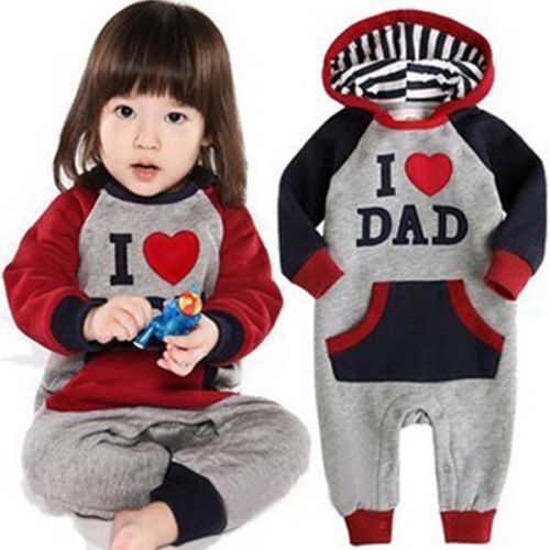 Babies Hooded Cute I Love Mam/Dad Baby Kids Girls Boys Children Jumpsuit Rompers Outfits Set Playsuit lovely toddler first walkers baby boys and girls cotton shoes soft bottom hook sneakers i love mom dad