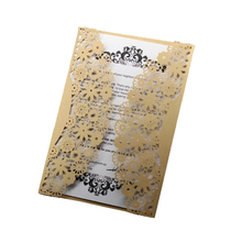 100pcs Laser Cutting Wedding Invitations Card Covers Lace Hollow Business Cards Invites Party only Invitation covers 1pcs sample wedding invitations laser cutting invitation card for wedding blank inner sheet hollow birthday invitation