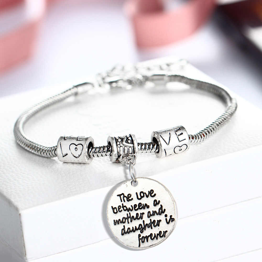 The Love Between Mother And Daughter Is Forever Charm Bracelet Women Mom Mommy Mama Beads Bangles Jewelry Gift Chain Wristband