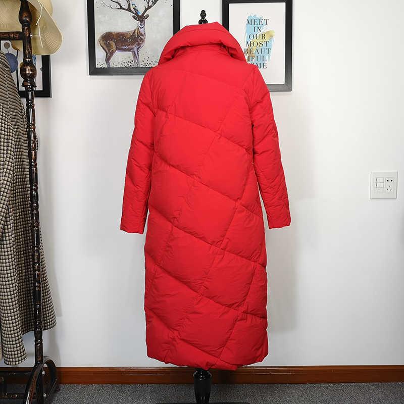 Fitaylor женский зимний пуховик ультра легкий 90% белый утиный пух стоячий воротник зимняя одежда женские длинные парки утепленная куртка