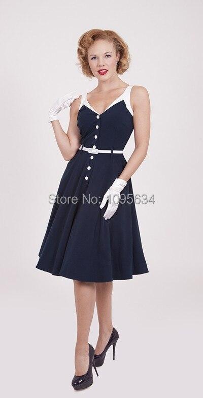 free shipping strap royal blue 1950's pin up nautical sailor rockabilly dress S-6XL