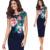 Kenancy s-5xl elegante frauen plus größe dress sommer sleeveless blumendruck casual partei mantel bodycon dress büro vestidos