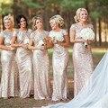 Ouro Champagne Longo Da Dama de honra Vestidos de Lantejoulas Manga Curta Até O Chão Vestido de Dama de honra do Baile de Finalistas do Partido Do Vestido de Casamento