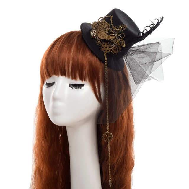 1pc Steampunk Gear Wings Clock Butterfly Hat Lace Hair Clip Punk Gothic Headwear