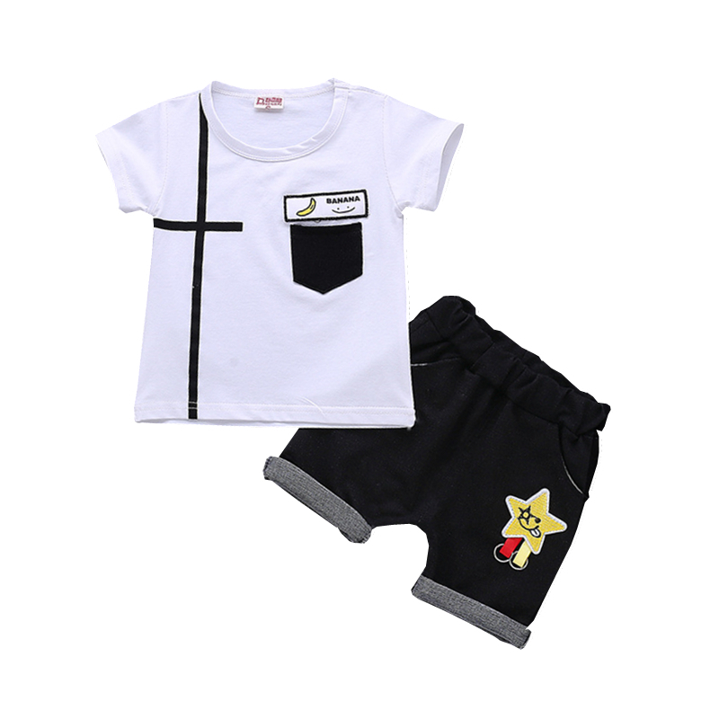 Summer Children Boys Girls Leisure Clothing Sets Baby Cartoon Banana T-shirt Shorts 2Pcs/Sets Fashion Kids Cotton Tracksuits