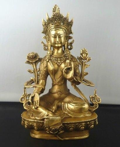 Artes artes cobre exquisito tibetano budismo Verde Tara diosa kwan-yin Buda  estatua escultura 988ebc1b06d4