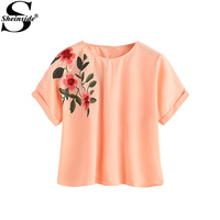 Sheinside Flower Embroidery Blouse Cuffed Sleeve Tops 2017 Women Elegant Casual Summer Tops New Orange O Neck Cute Tunic Blouse