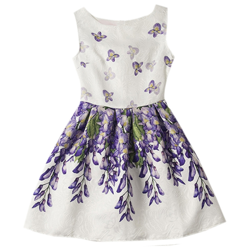 2017 summer girls print dress at the time of the knee of the princess dress of a clothing line for children 6 to 12 years J2 children of foreign trade of the original single sequined dress adult costumes dance dressperformance clothing princess dress