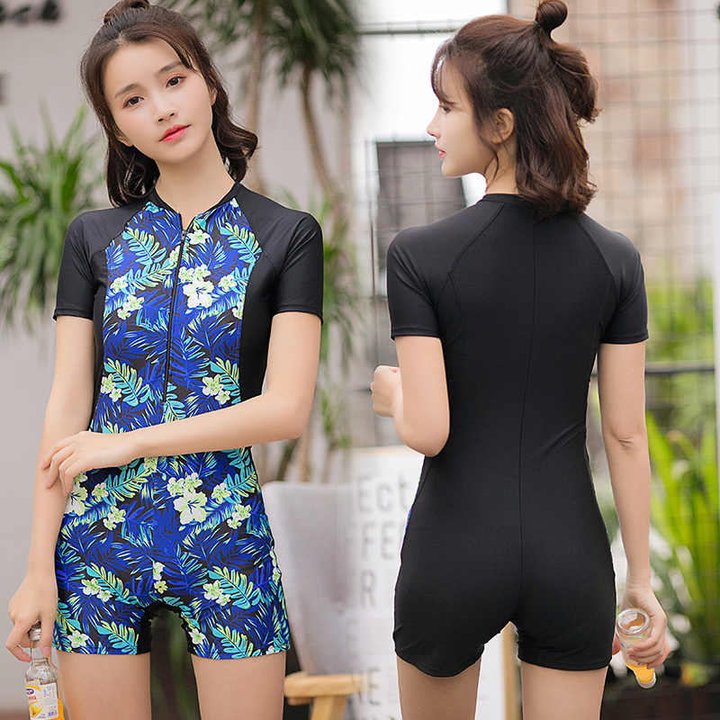 9eb6e5b4e7 2018 One Piece Women Swimsuit Floral Print Sexy Sport Swimwear Ladies Beach  Wear Push Up Short Sleeves Surfing Suits