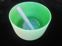 7 And 9 2 Pcs Chakra Tuned Colored Frosted Crystal Singing Bowl With Free Suede And