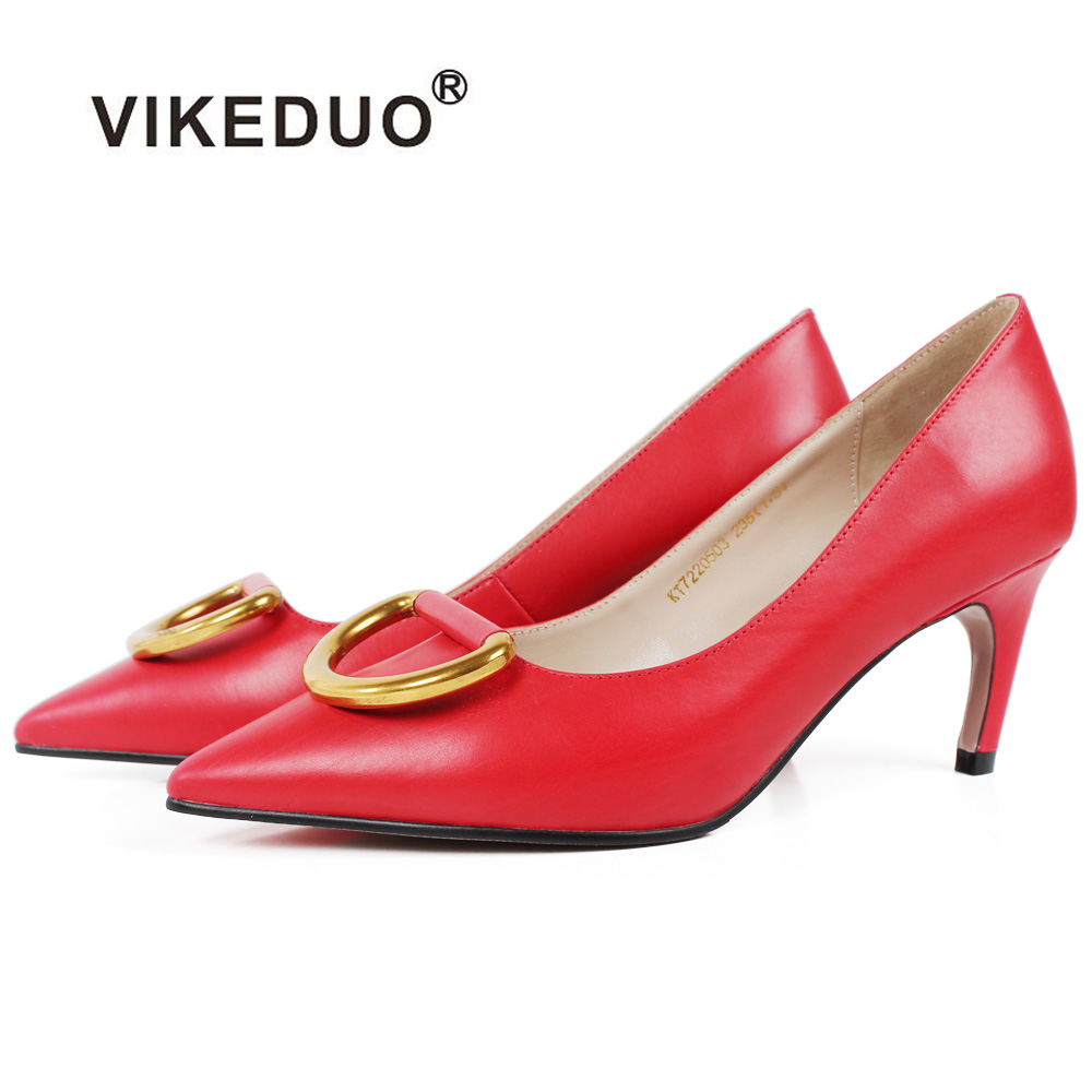 Vikeduo Fashion Women High Heel Pumps 2018 Red Pointed Toe Ladies Dress Shoes Wedding Party Genuine Leather Handmade Shoe Zapato ladies handmade fashion patent patchwork 100mm wedding evening high heel pumps shoes cke103