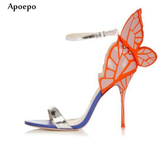 Apoepo Summer Sexy Sandal for Woman open toe ankle strap high heel shoes big butterfly-knot thin heels sandal gladiator sandal new 2016 sexy gladiator ankle straps high heels fashion brand women sandal summer mixed colors open toe sandalias big size 34 43