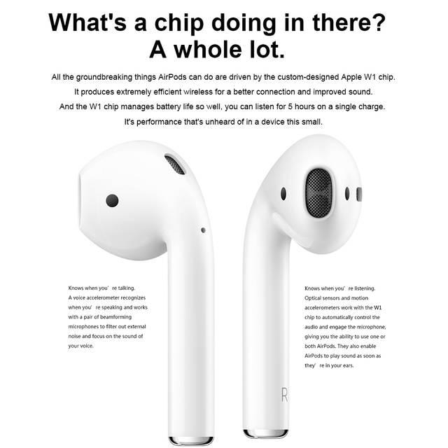 US $266 63  Original Apple AirPods Bluetooth Earphone Music Wireless  Earphones Handsfree Air Pods for iPhone X iPad Mac Apple Watch-in Bluetooth