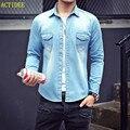 2016 2017 Высокое Качество С Длинным Рукавом Джинсовые Рубашки Мужчины Повседневная Рубашка мода Тонкий Мужчины Женщины Джинсы Рубашки для Любителей Плюс Размер 3XL