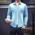 2016 2017 High Quality Long Sleeve Denim Shirts Men Casual Shirt  Fashion Slim Men Women Jeans Shirts for Lovers Plus Size 3XL