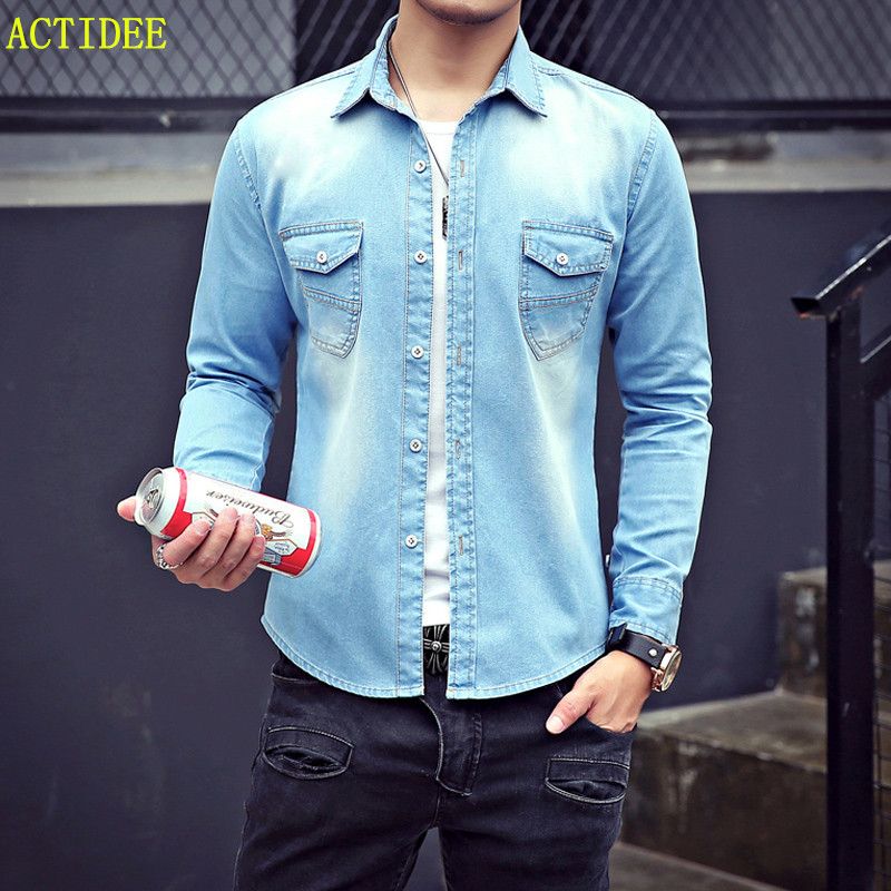 d3574170d4a 2017 High Quality Long Sleeve Denim Shirts Men Casual Shirt Fashion Slim  Men Women Jeans Shirts for Lovers Plus Size 3XL -in Casual Shirts from  Men s ...