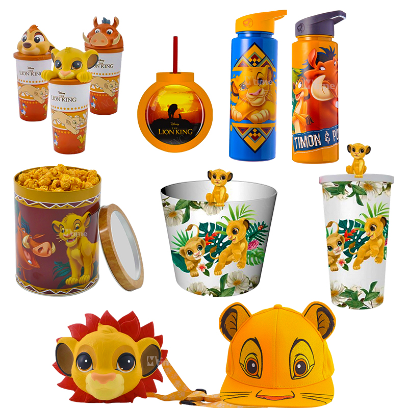 Action Cartoon The Lion King Straw Cup For Children Movie Theater Popcorn Bucket Nala Timon Simba The Lion King Model Glass Toys