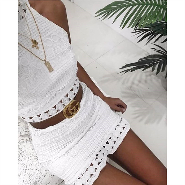 2018 New sexy Vintage hollow out lace dress women Elegant sleeveless white dress summer chic party sexy mini dress vestidos 2XL 4