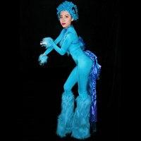 Новая мода красные, синие Комбинезон ночной клуб танца шоу боди Для женщин выпускного наряд для вечеринки пикантные перо комбинезон DJ DS кос