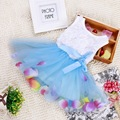 Baby girls casual dress blue summer dress Floral dresses colorful Petal hem Sleeveless baby girls clothes vestido bebe ropa