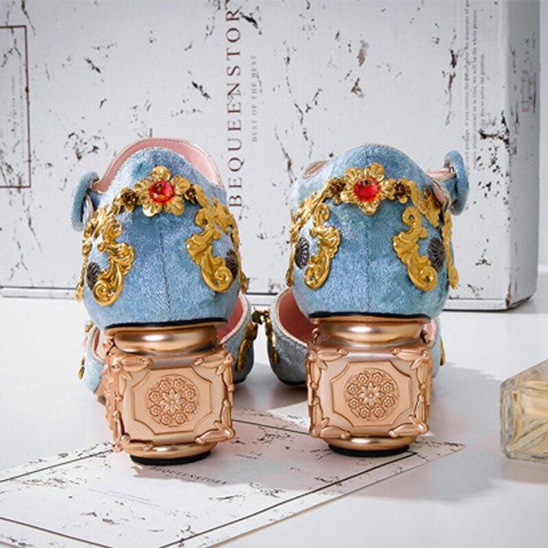 Bombas Mujeres Vintage Valentín Tacones Sandalias Vestido Boda Blue Strange Metal Nuevo Mary De black Zapatos Decoración San Stiletto Altos Gladiator 2018 pink w5tqIgU