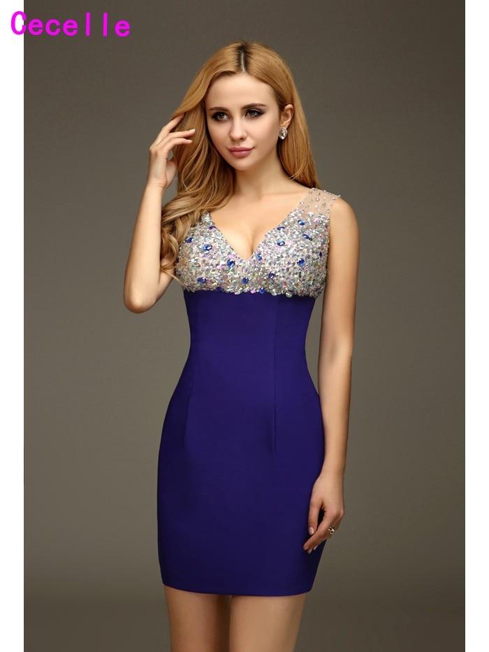 Blue Short Mini Sheath Homecoming Cocktail Dresses Sparkly Beaded
