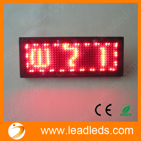 11x33 Dots Red Single Color  Rechargeable Cool Led Badge For Hebrew Russian Etc World Languages