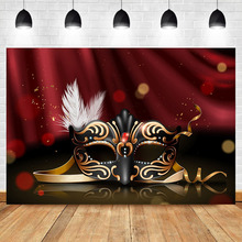 Neoback Black Mask Birthday Party Photo Backdrop White Feather Red Masquerade Bokeh Photography Backdrops Studio Shoots