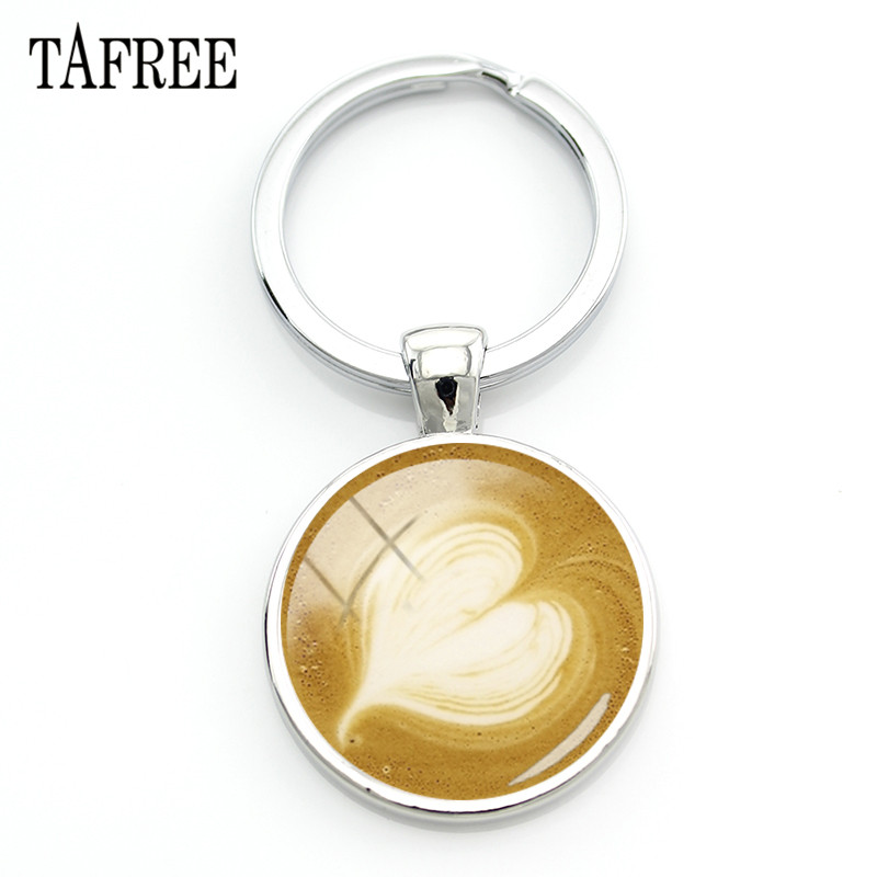 TAFREE Coffee Latte Carving Love Heart Art Keychain Key Rings Chocolate Printing Flower Four Leaf Clover Cat Charm Pendant QF286