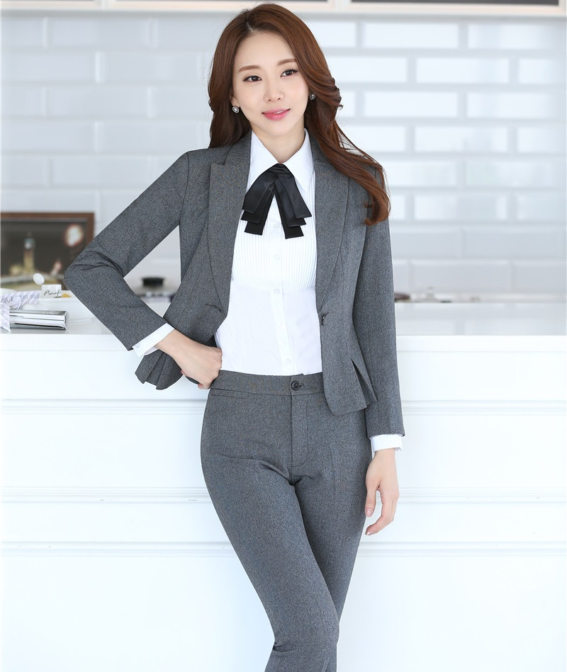 Plus Size 4XL Novelty Gray Autumn Winter Professional Formal OL Styles Female Pantsuits With Jackets And Pants Trousers Set