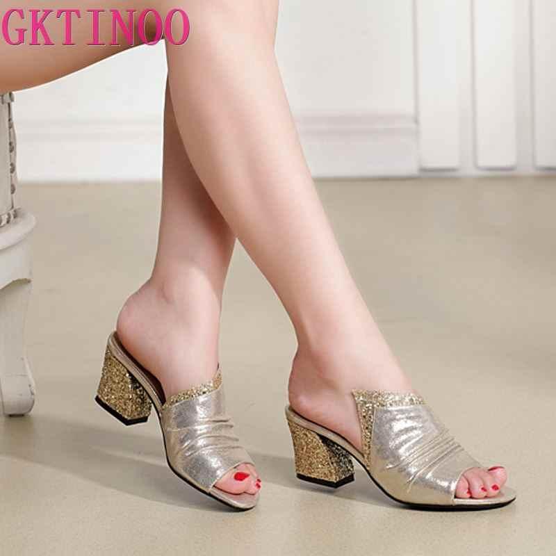 GKTINOO 2020 yaz ayakkabı kadın slaytlar kalın topuklu terlik Bling açık ayak sandalet hakiki deri kadın terlik