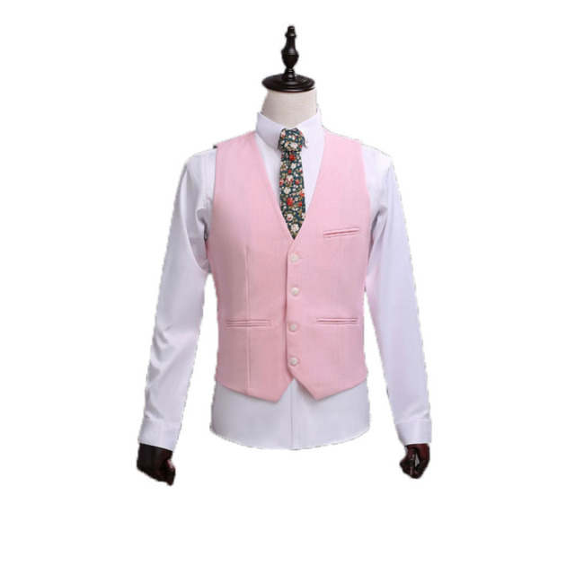 2017 Pink Custom Made Best Man Vest 4 Button 3 Pocket Two Teeth Pocket Wedding Vest Bridegroom Business Party Vest