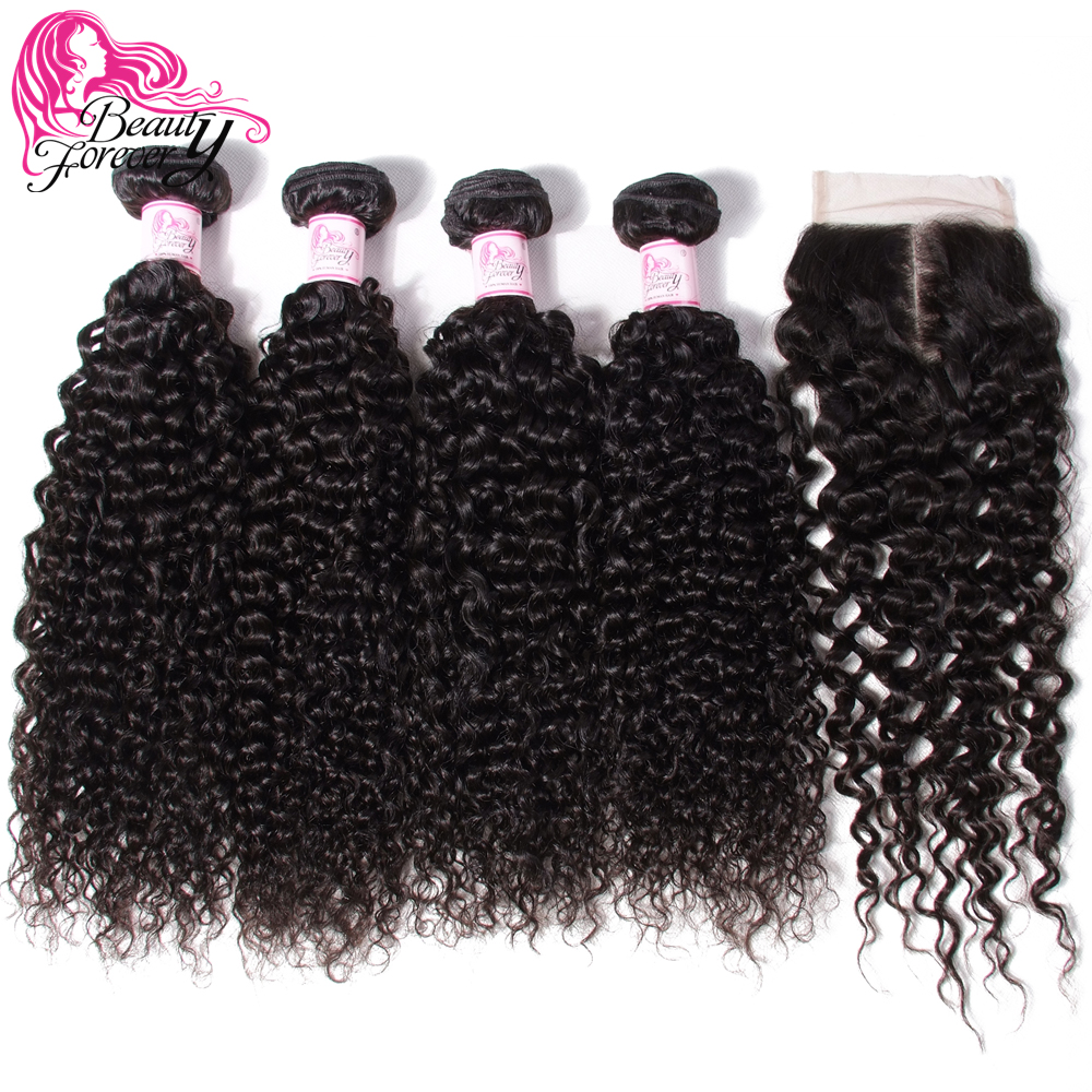 Beauty Forever 4 Bundles Malaysian Curly Human Hair With Closure 4*4 Free/Middle/Three Part Remy Hair Weaves Natural Color