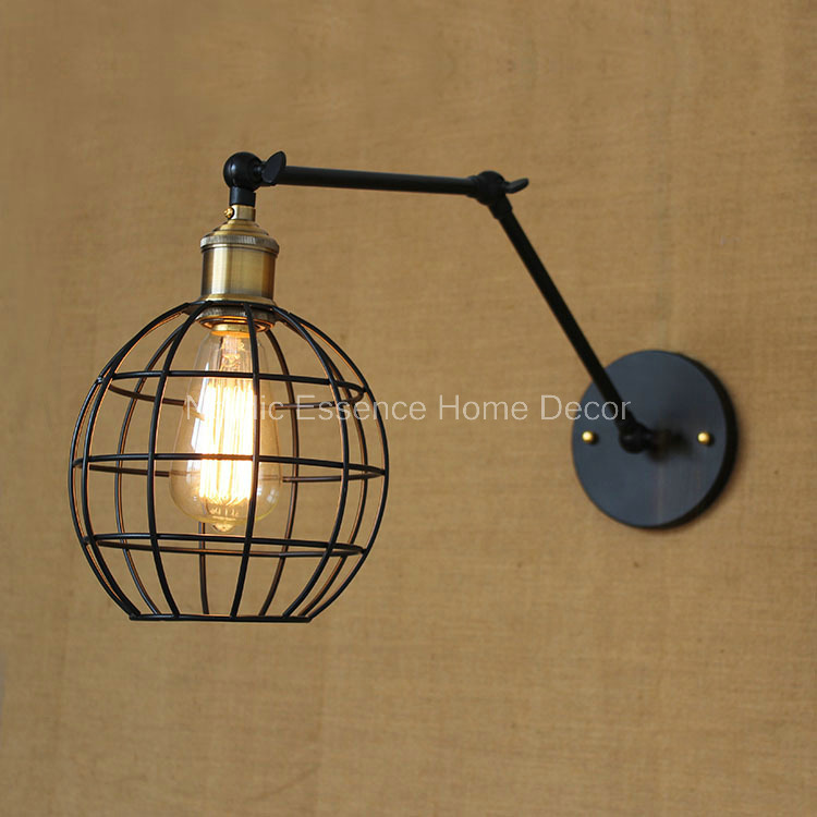Nordic American country retro industry long-arm formwork creative bar hotel restaurant cafe wall lamp wrought iron cage sconce