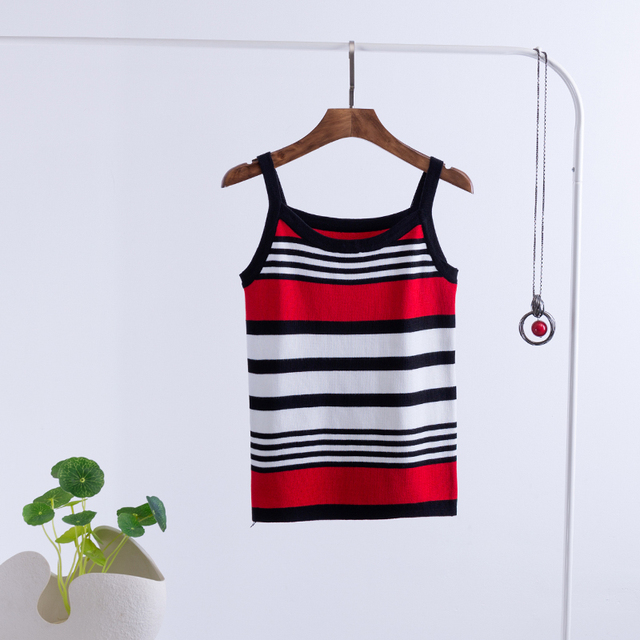 2018 Summer Sexy Stripe T-shirts Tank Top Knitted Self-cultivati Sleeveless Camisole Tops Women's Vest