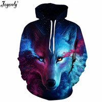 Joyonly New 2017 Galaxy Space Colorful Wolf Lion Pug 3D Print Hoodies Sweatshirt Women Men Hooded
