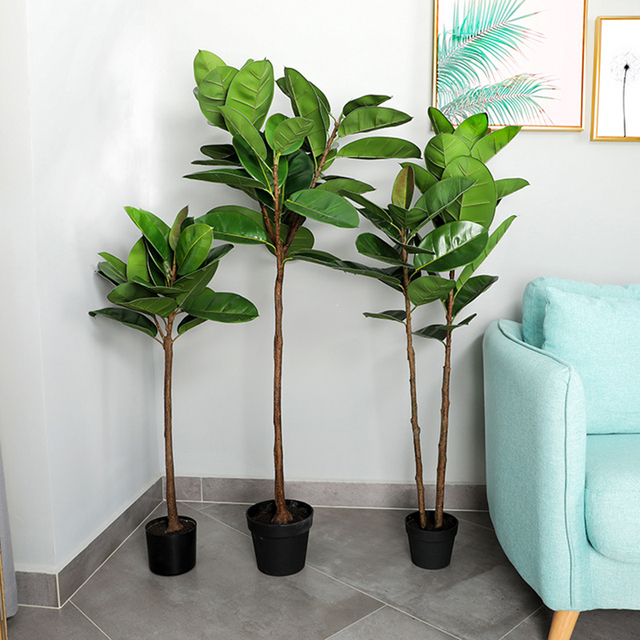 Nordic Ins Artificial Rubber Tree Plants Bonsai Indoor Large Green Simulation Plant Living Room Home Decorative