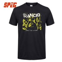 Rancid Guitar Men T Shirt Short Sleeve Rock Heavy Metal Vintage Tops Cotton Tee Shirt Crew