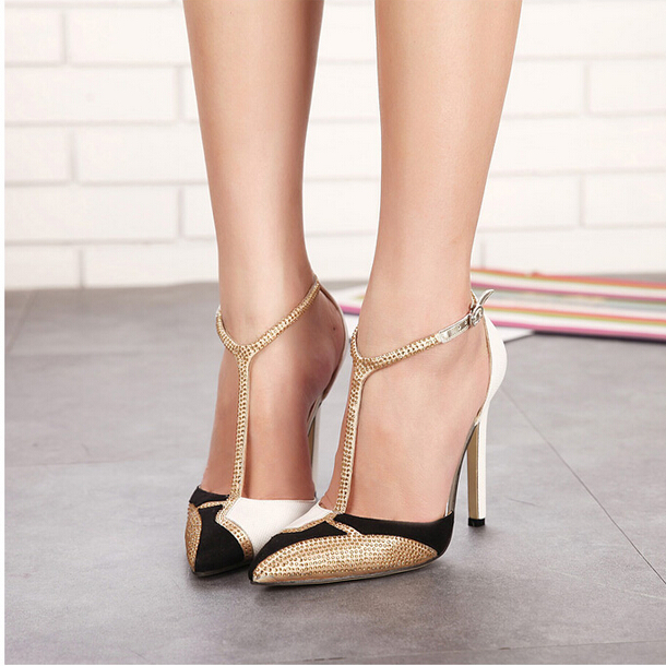2017 summer new European and American fashion high-heeled shoes pointed spangle color sexy sandals female summer european style stitching sequins pointed personality gradient color with ultra thin high heeled shoes